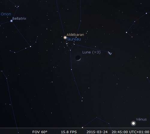 La Lune en rapprochement avec les Pléiades et Aldébaran