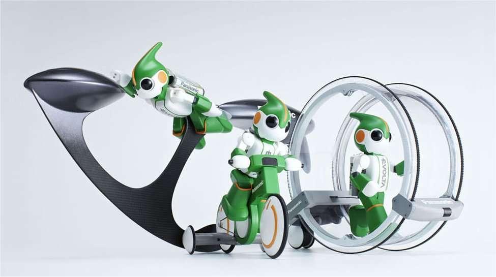 Evolta et son matériel. Il ressemble à un héros de bandes dessinées ou un jeu. Mais la recherche en robotique est une affaire très sérieuse... © Panasonic Corp.