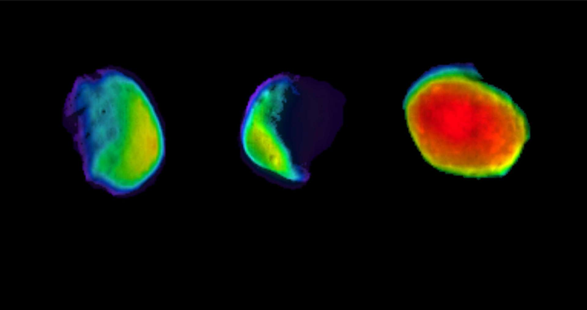 Trois vues de Phobos, lune de Mars, prises en l'espace de trois ans par la caméra infrarouge de la sonde 2001 Mars Odyssey. © NASA/JPL-Caltech/ASU/SSI