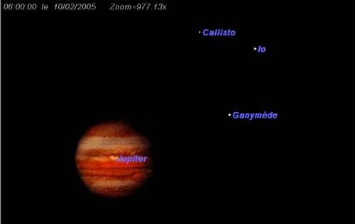 Les satellites Callisto, Io et Ganymède forment un regroupement à l'Ouest de Jupiter