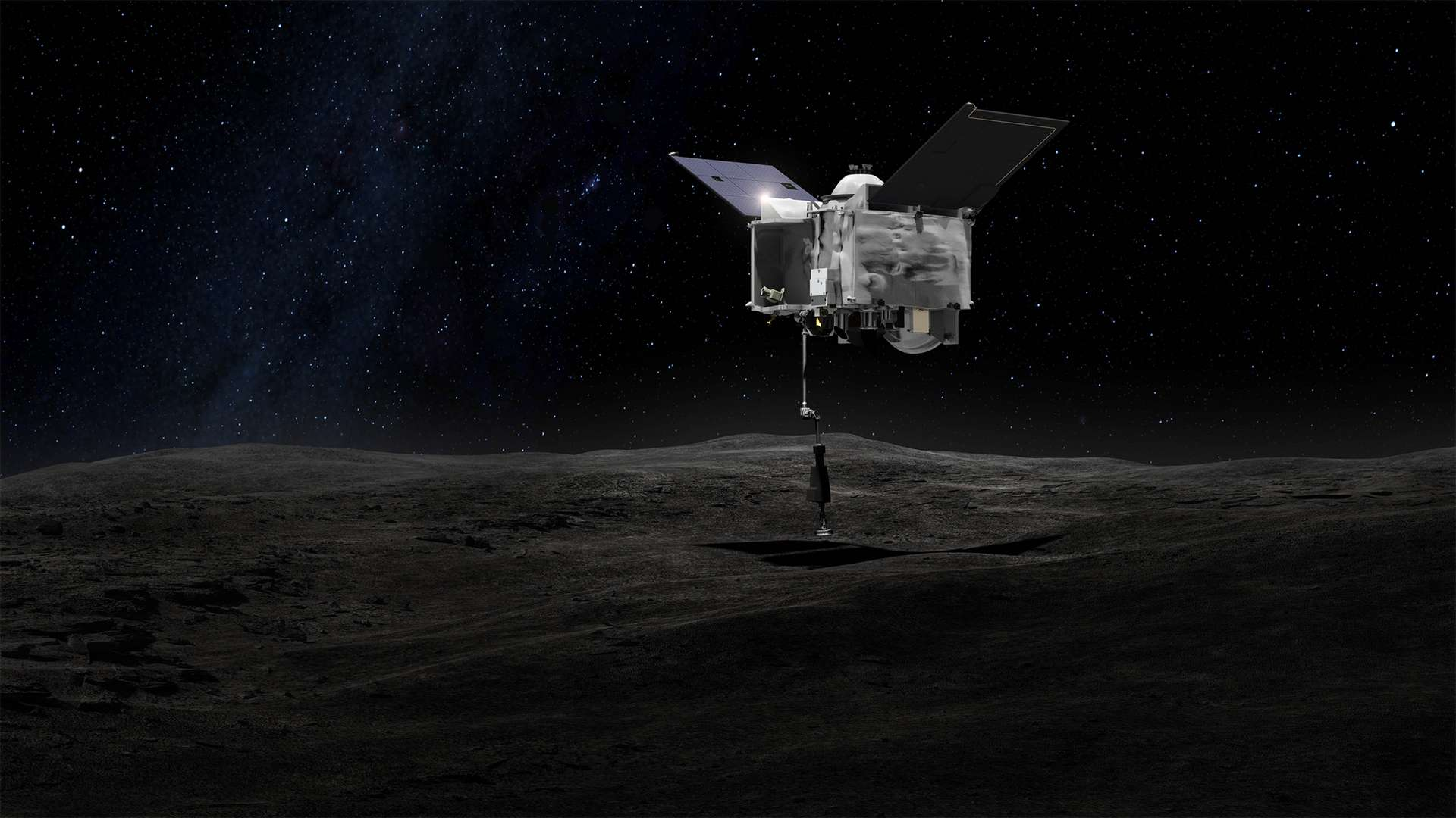 """La manoeuvre """"touch and go"""" qui doit permettre à la sonde OSIRIS-REx de récupérer jusqu'à deux kilogrammes de matière de l'astéroïde Bennu. © Nasa, Centre spatial Goddard"""