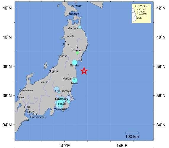 La terre a de nouveau tremblé au large de Fukushima. © United States Ecological Survey