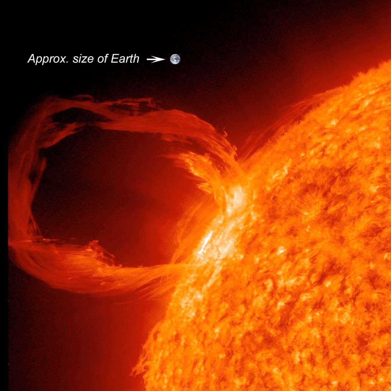 L'activité solaire, qui se traduit par une variété de phénomènes énergétiques variant de façon cyclique, en fréquence et en intensité, comme le montre cette spectaculaire éruption solaire survenue en mars 2012, rend nécessaire la mise au point de systèmes de prédiction en raison du risque qu'elle fait peser sur bon nombre d'activités spatiales ou terrestres. © SDO Science Team, Nasa