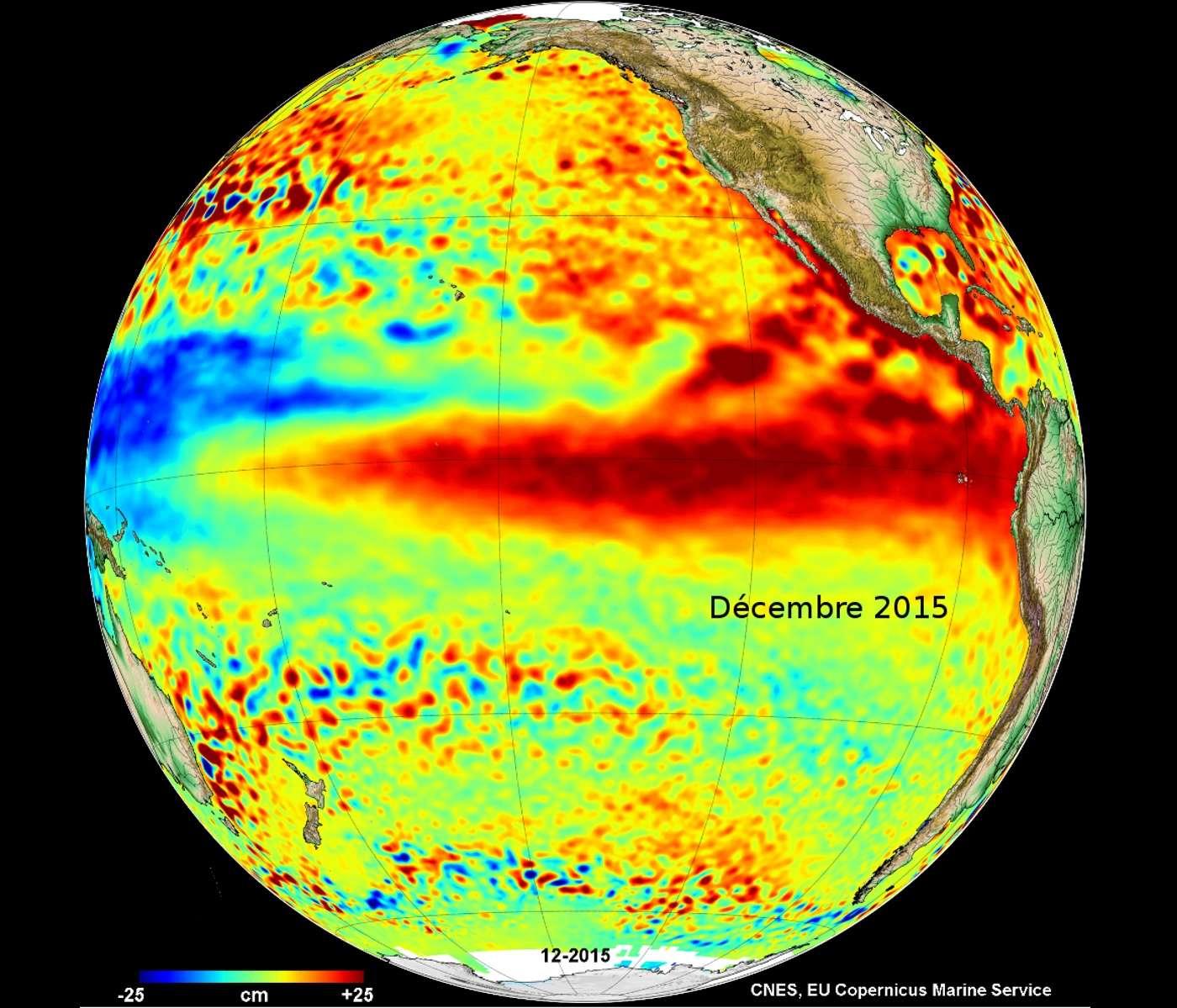 Le portail de référence de l'altimétrie Aviso+ a publié sa dernière carte mensuelle des anomalies de hauteur des mers. La longue langue rouge centrée sur l'équateur d'El Niño saute aux yeux. Surnommé « l'enfant terrible du Pacifique », celui-ci induit une élévation du niveau des mers d'environ 20 cm mesurée par des satellites comme Jason-2, situé sur une orbite à 1.336 km d'altitude. © Cnes, EU Copernicus Marine Service