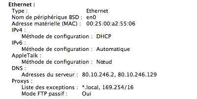 Fenêtre Réseau sur Apple, pour connaître votre adresse MAC (Media Access Control). © DR