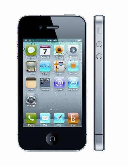 L'iPhone 4 et la pomme de discorde : le bandeau métallique entourant les antennes qu'il faudrait éviter de toucher en bas à gauche, là où il s'interrompt. © Apple
