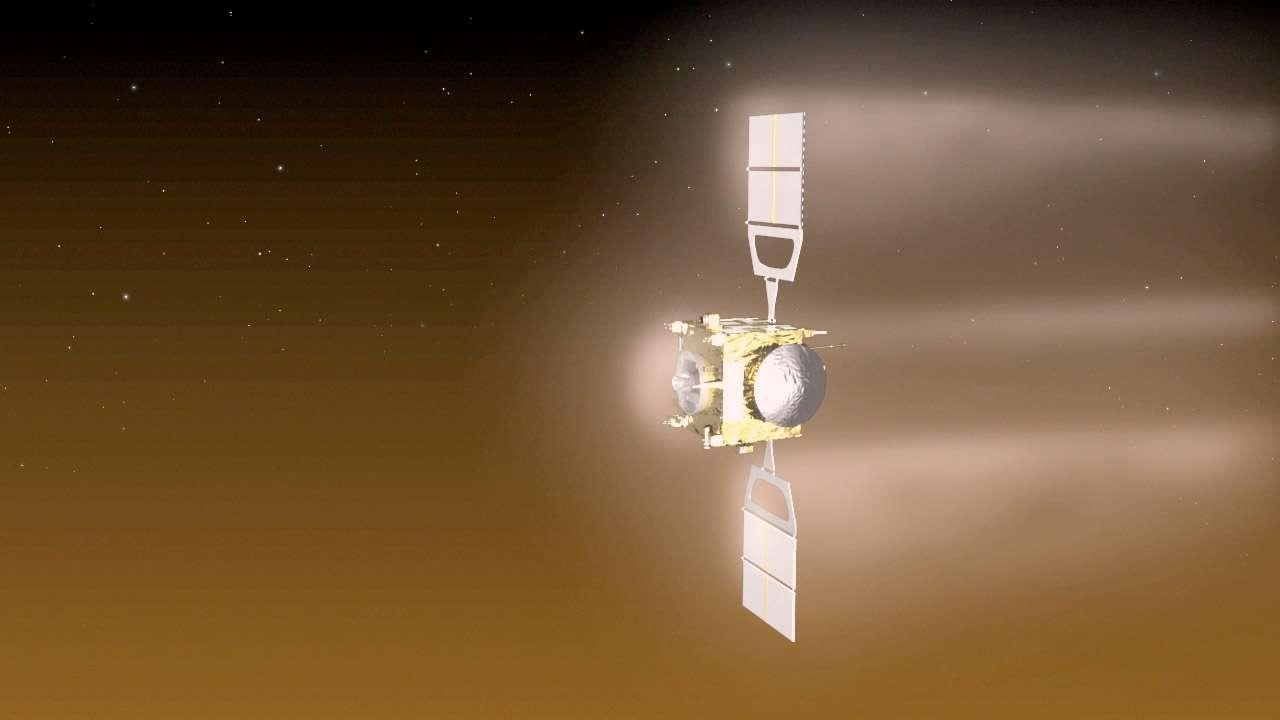 Les essais d'aérofreinage autour de Vénus que s'apprête à réaliser la sonde Venus Express ne sont pas les premiers du genre. En son temps, la sonde américaine Magellan (mai 1989-octobre 1994) avait déjà fait de telles manœuvres au-dessus de Vénus. © Esa/C. Carreau