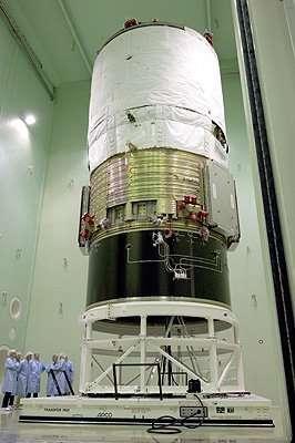 Le module ATV sur son banc d'essai acoustique, au LEAF(Crédits : ESA - Anneke Le Floc'h)