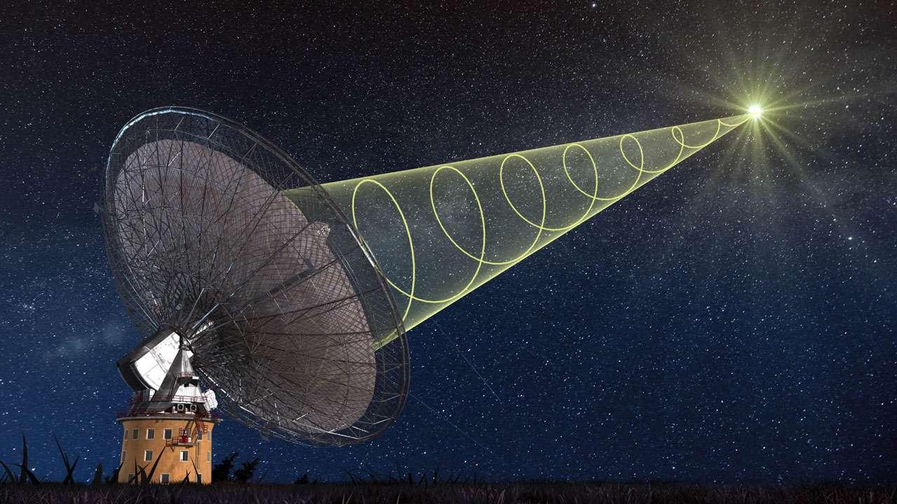 Le radiotélescope de Parkes a pu observer un sursaut radio rapide. Le signal radio est polarisé circulairement ce qui veut dire que le champ électrique des ondes émises tournent autour de la direction de propagation de l'onde. © Swinburne Astronomy Productions