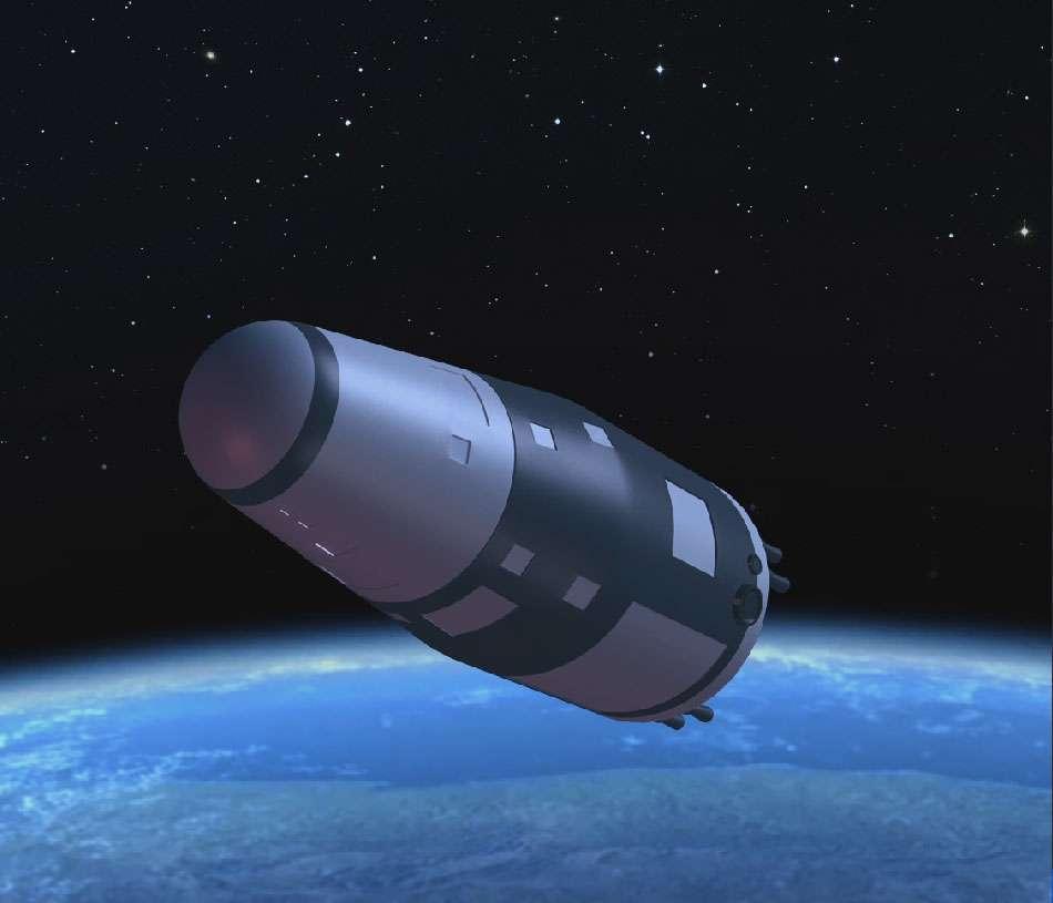 Vue d'artiste du satellite SJ-10 lancé par un lanceur Longue Marche 2-D depuis le Centre de lancement de satellites de Jiuquan, dans le nord-ouest de la Chine. Il est le deuxième des quatre satellites scientifiques d'un programme spatial de l'Académie des sciences de Chine. © Académie des Sciences