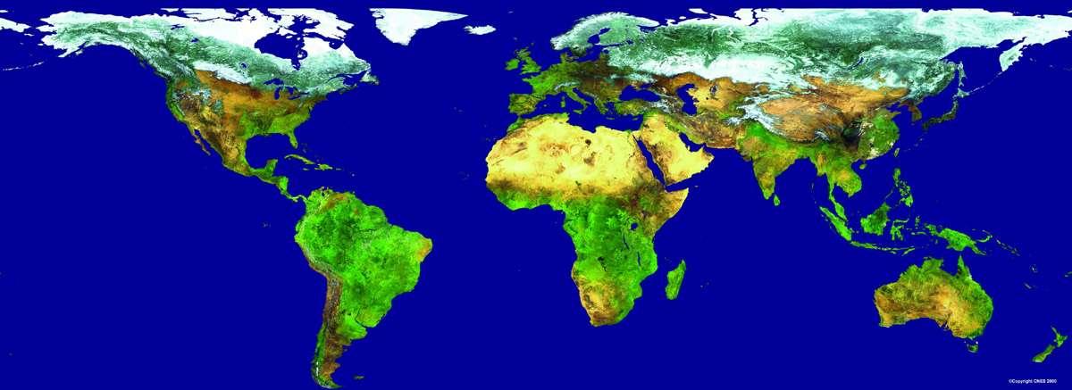 Couvert végétal de la planète observé par l'instrument « Végétation » à bord des satellites Spot 4 et Spot 5 du Cnes. © Cnes, Distribution Spot Image