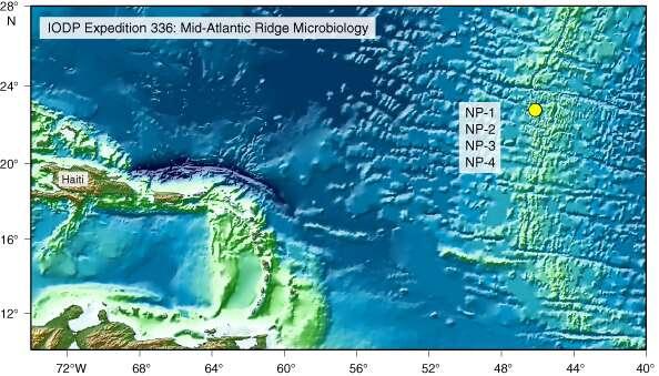 Les laboratoires sous-marins ont été installés à 4.400 mètres de profondeur, sur la ride médioatlantique (point jaune sur la carte). Les dorsales océaniques parcourent plus de 64.000 km au fond des océans. La ride médioatlantique à elle seule est longue de 7.000 km. © IODP-USIO