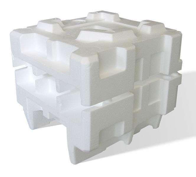 Un emballage en polystyrène expansé. Léger, ce matériau résiste à la compression et aux chocs. © Acdx / Licence GNU