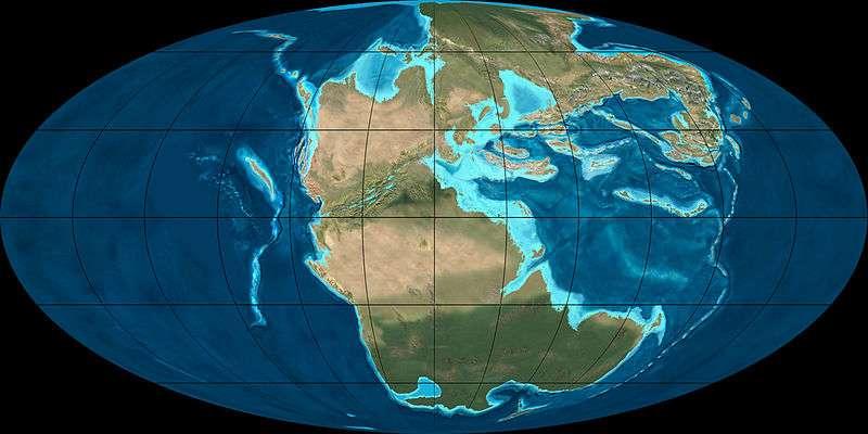 Répartition des masses continentales durant le Trias supérieur, voici 220 millions d'années. © Ron Blakey, NAU Geology, Wikimedia Commons, cc by sa 3.0
