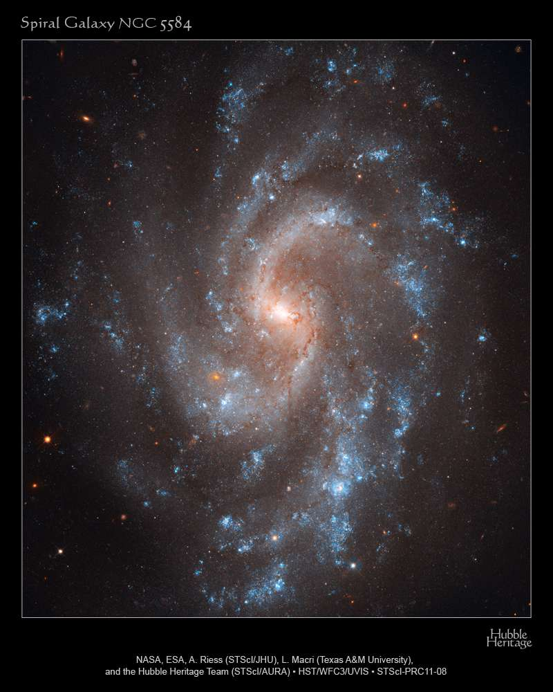 La galaxie spirale NGC 5584 a fait partie de celles qio ont permis de réfuter le scénario dit du vide minimal. © Nasa, Esa, A. Riess (STScI/JHU), L. Macri (Texas A&M University), the Hubble Heritage Team (STScI/AURA)