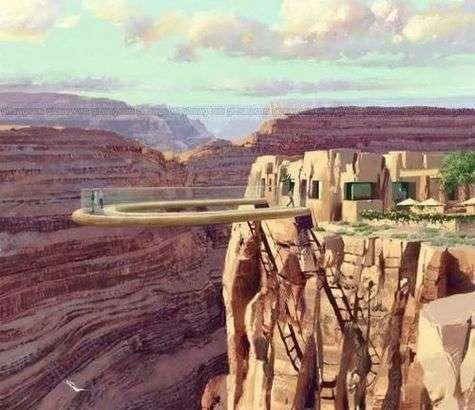 Le Skywalk, passerelle de verre au-dessus du Grand Canyon. Le fond est réalisé en verre feuilleté entièrement transparent.