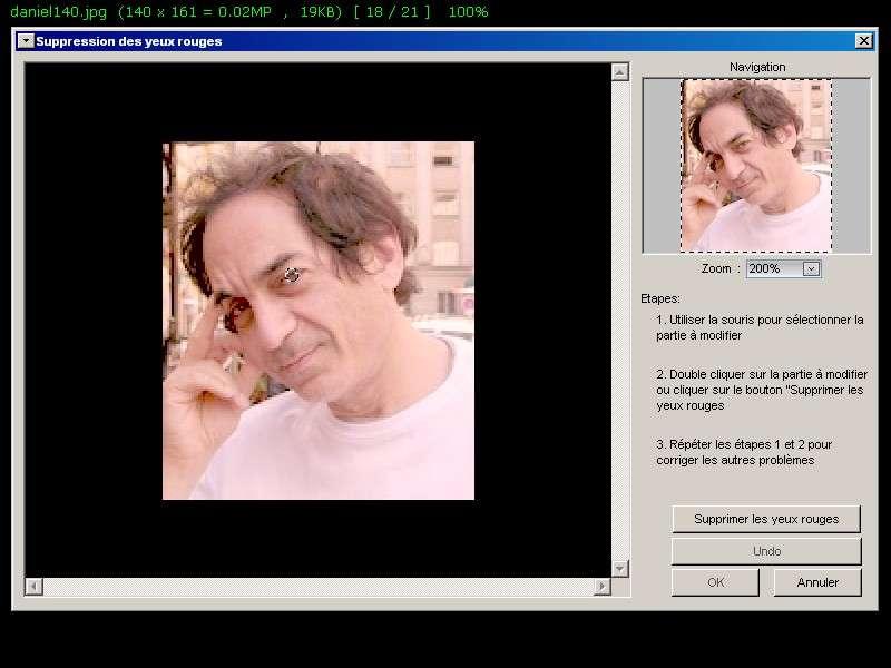 Enlever les yeux rouges d'une photographie prise au flash avec un logiciel de photo, comme FastStone. © Futura-Techno