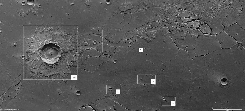 La région de Hephaestus Fossae et, entourées, les zones présentées dans l'article. Source Esa