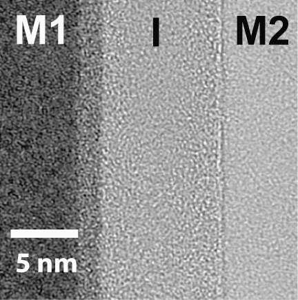 Une vue de l'assemblage de deux métaux, M1 et M2, accolés à un isolant I, au microscope électronique. L'ensemble permet de constituer une diode Métal-Isolant-Métal (MIM). Ce genre de composant est prometteur pour l'électronique du futur. On vient d'en fabriquer des variantes sous le nom de MIIM. © Oregon State University