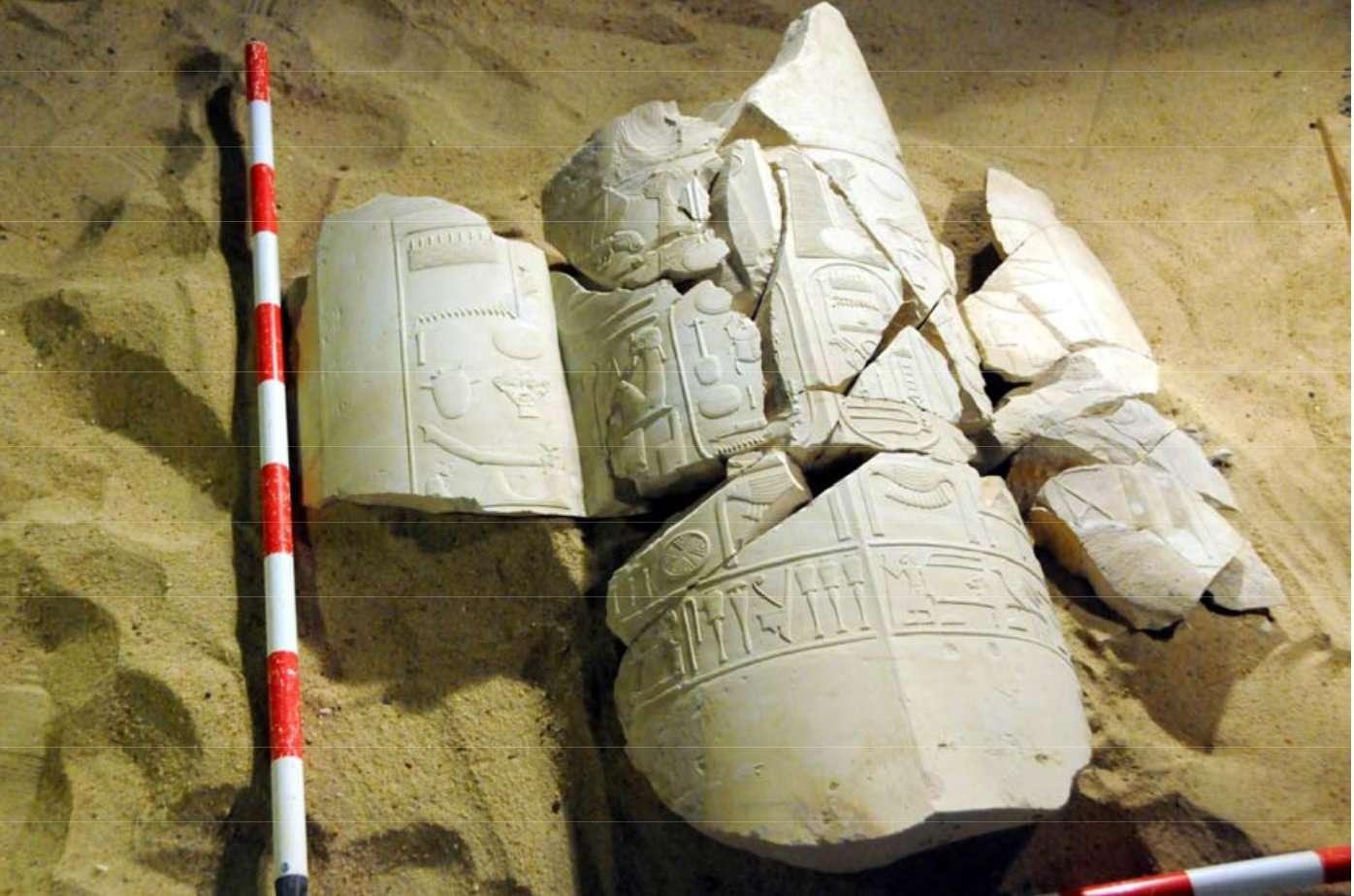Le nom d'Amenhotep IV, qui deviendra Akhenaton, figure dans ce tombeau découvert à Louxor, aux côtés du cartouche royal de son père, Amenhotep III. Pour l'équipe égypto-espagnole qui a fait cette découverte, c'est la preuve que le père et le fils ont régné ensemble un certain temps. © MSA (Ministry of State for Antiquities)
