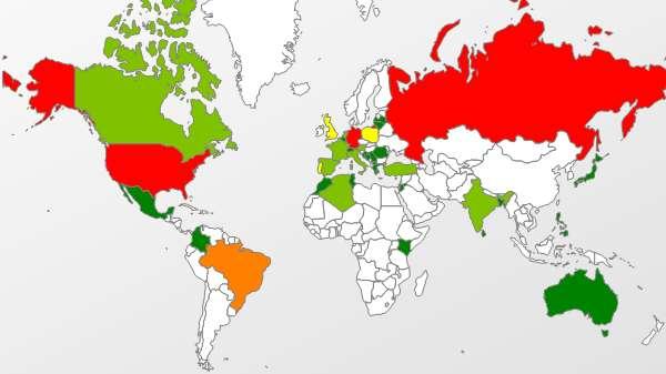 Pour le moment, comme le montre cette illustration, si l'attaque zero day dans Java touche essentiellement la Russie et l'Amérique latine (territoires en orange et en rouge), elle épargne la France (et les autres territoires en vert). © Kaspersky