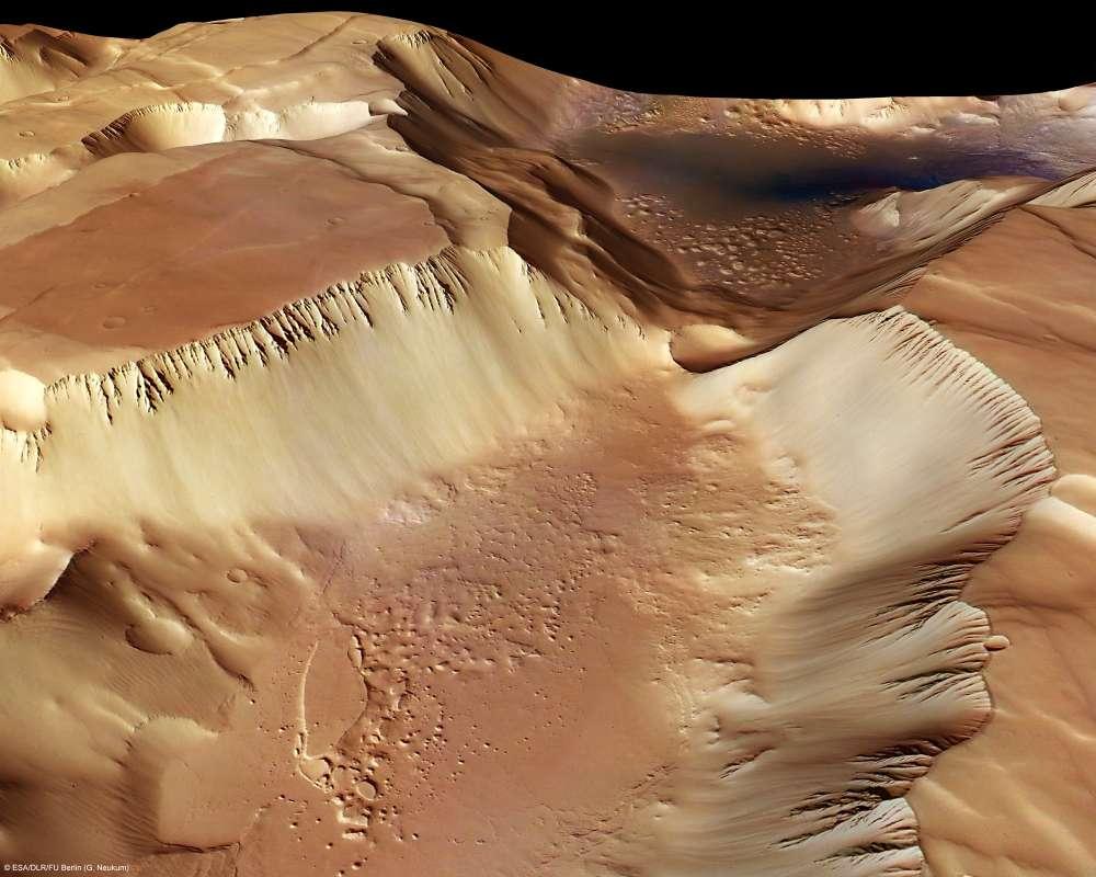 Un canyon martien, le Labyrinthe de la nuit, reproduit en 3D grâce à la caméra HSRC de la sonde Mars Express. © ESA/DLR/FU Berlin (G. Neukum)