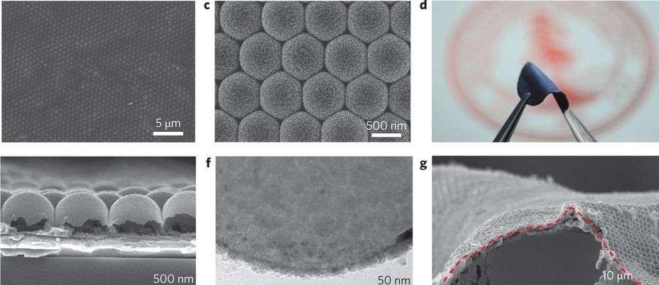 Différents agrandissements du film isolant qui stabilise l'anode en lithium. Il s'agit d'une structure en nid d'abeille composée de nanosphères de carbone qui offrent l'avantage d'être à la fois résistantes et souples pour supporter les changements d'état du lithium durant les cycles charge-décharge. © Stanford University
