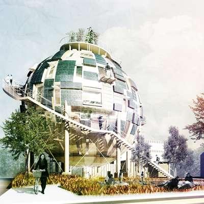 Voici peut-être à quoi ressembleront les silos à pétrole dans quelques décennies. Alors qu'ils ont été utilisés pour produire des carburants polluants, ils pourraient être reconvertis en des lieux de vie agréables et surtout écologiques. © Pink Cloud, CC by-nc-nd 3.0