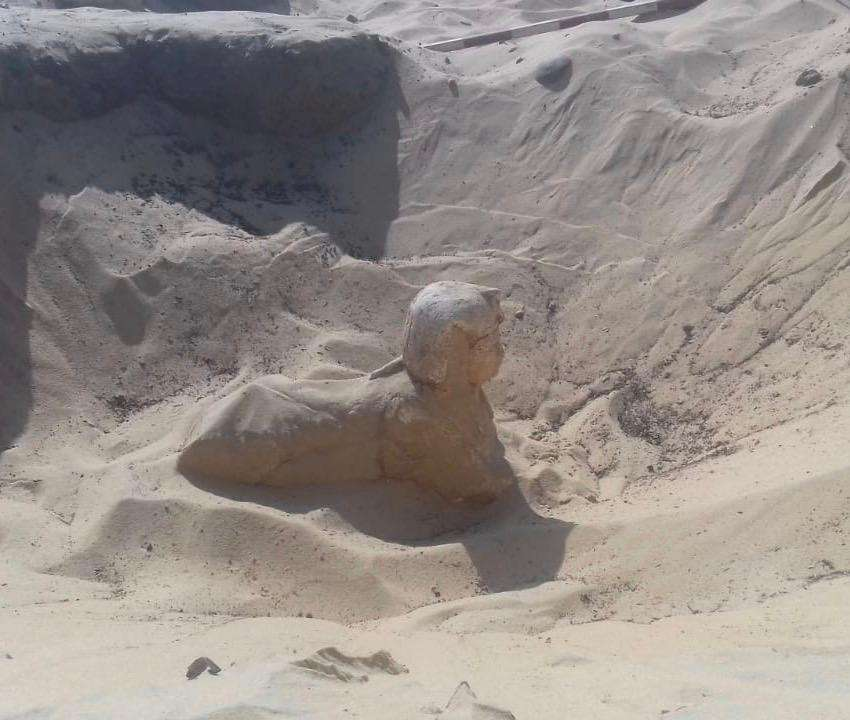 Le sphinx miniature mesure 55 cm de long et 35 cm de haut. © Ministère des antiquités d'Égypte