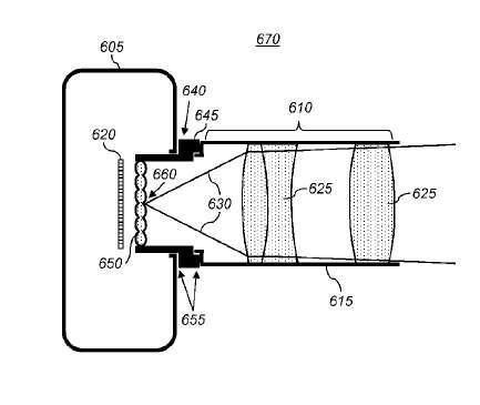 Dans l'un des brevets qui viennent d'être accordés par le bureau américain des marques et des brevets, Apple décrit une optique d'appareil photo plénoptique suffisamment miniaturisée pour être intégrée à un smartphone. C'est ce système que l'on trouve sur l'appareil photo Lytro. Il intègre une optique complexe qui permet de réaliser la mise au point sur n'importe quelle partie de la photo à postériori. © Apple, USPTO