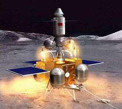 Vue d'artiste préfigurant une mission automatique chinoise de retour d'échantillons lunaires.