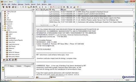 Jusqu'ici, Eudora (ici en version 5.0 sous Vista) était souvent considéré comme le plus puissant client e-mail hors ligne. Il faudra désormais compter avec GMail… Crédit Futura-Sciences