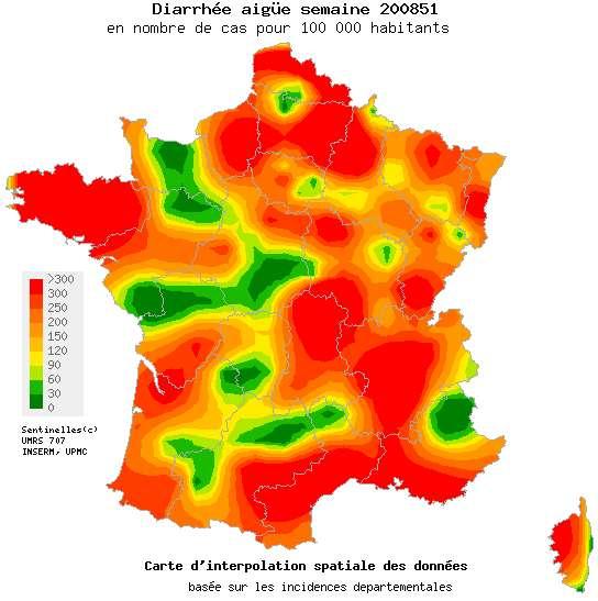 La carte de la gastro au 26 décembre. En rouge, les régions les plus touchées (300 cas pour 100.000, ou plus). En vert foncé, les zones épargnées. © UMRS 707/ Inserm / UPMC