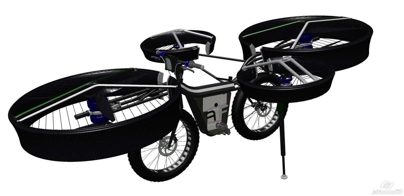 Les hélices du vélo volant FBike sont bien sûr protégées par différentes structures en matériaux composites et en aluminium. L'engin possède des pneus très larges car ils servent à amortir les chocs à l'atterrissage, évitant ainsi l'installation de lourds amortisseurs. © designyourdreams.cz