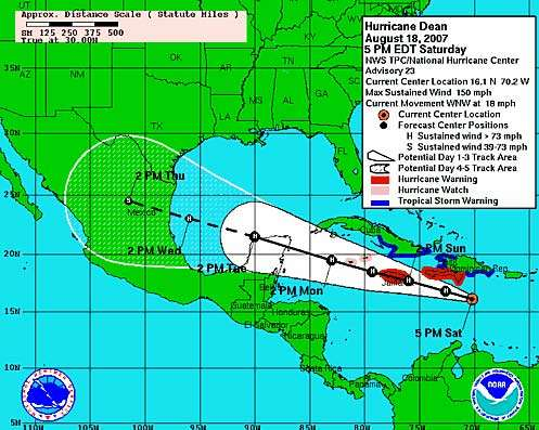 Prévisions du parcours du cyclone Dean. Crédit NOAA/NASA.
