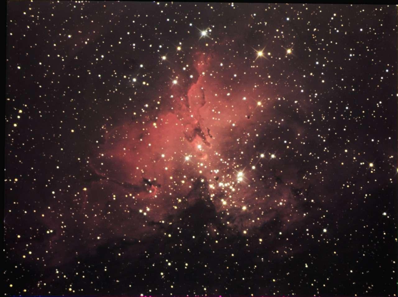 Image de «Chamois» (son pseudo sur le forum) en 80 minutes de pose avec une caméra CCD et un télescope de 200 mm.