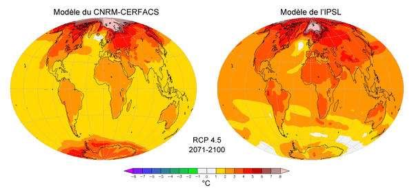 Les variations de température à la surface de la Terre pour la période 2071-2100 par rapport à la période 1971-2000, calculées en utilisant les modèles du CNRM-Cerfacs et de l'IPSL pour le projet CMIP-5. Les modèles CMIP-5 seront utilisés par le Giec pour son 5e rapport. © Patrick Brockmann (LSCE, IPSL, CEA, CNRS, UVSQ)
