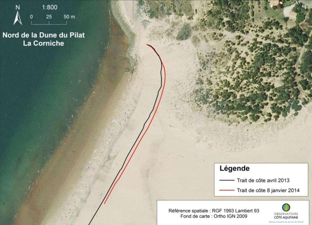 Le pied de la célèbre dune du Pilat, sur le bassin d'Arcachon, a reculé de cinq mètres entre avril 2013 (ligne noire) et janvier 2014 (ligne rouge). © BRGM