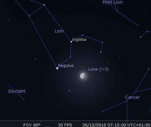 La Lune en rapprochement avec Régulus