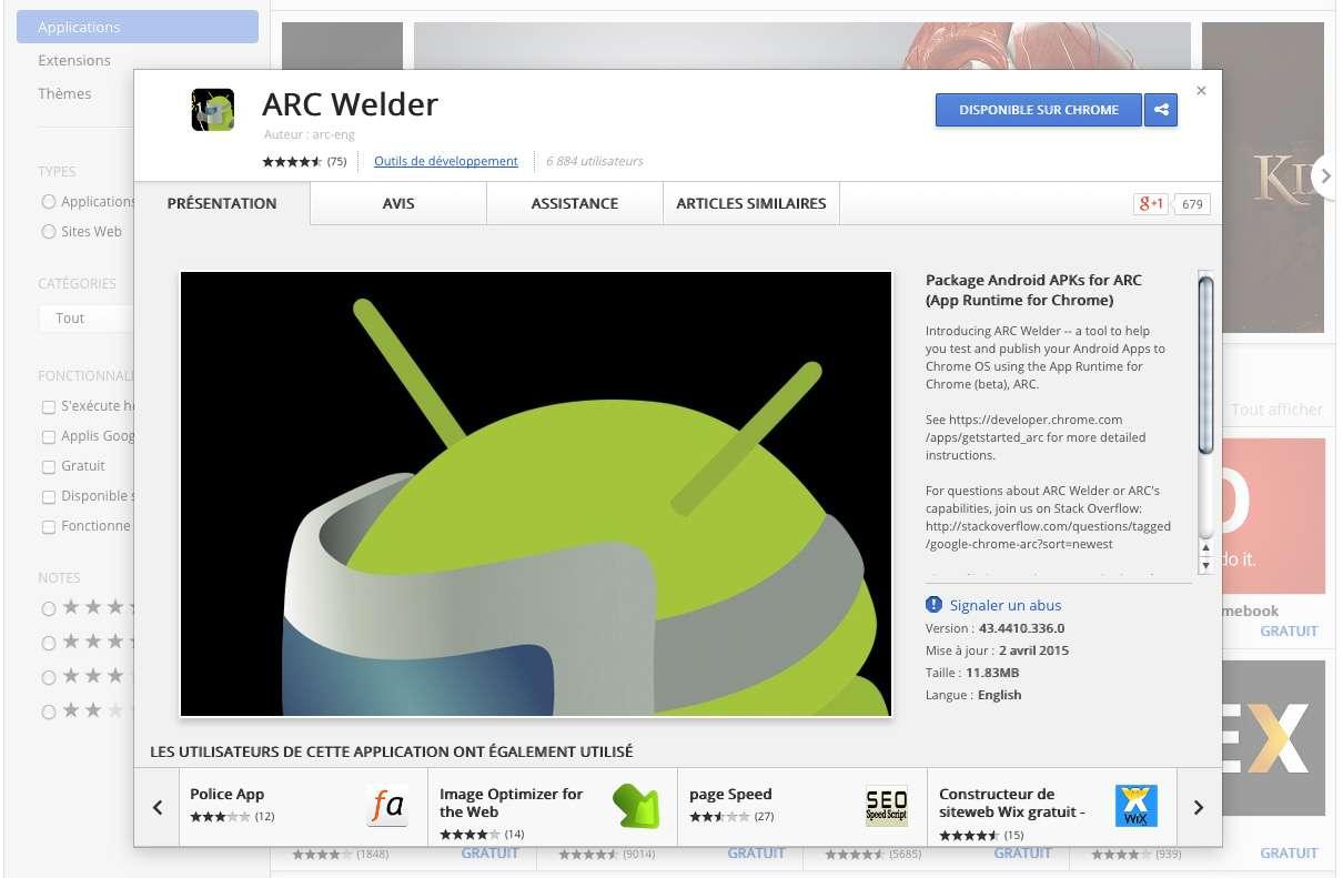 Le logiciel ARC Welder, fonctionnant avec Chrome, permet de lancer une application enregistrée sur ordinateur sous la forme d'un fichier APK. © Google