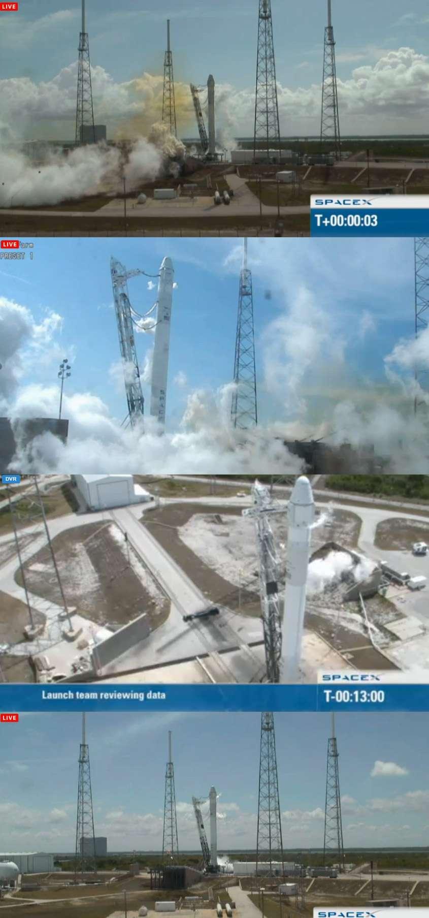 Simulation du décollage du lanceur Falcon-9 avec un allumage des moteurs du premier étage pendant 2 secondes (lundi 30 avril 2012). © SpaceX