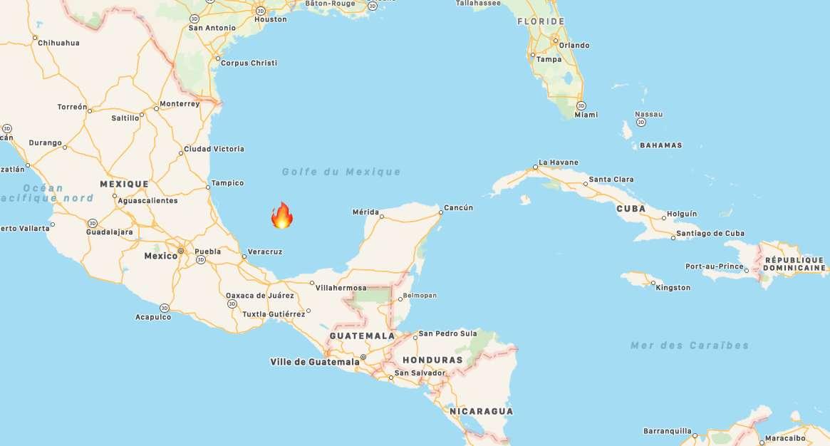 L'incendie s'est déclaré dans la baie de Campeche, à 150 mètres d'une plateforme pétrolière de la compagnie nationale mexicaine Pemex. © Apple Plans