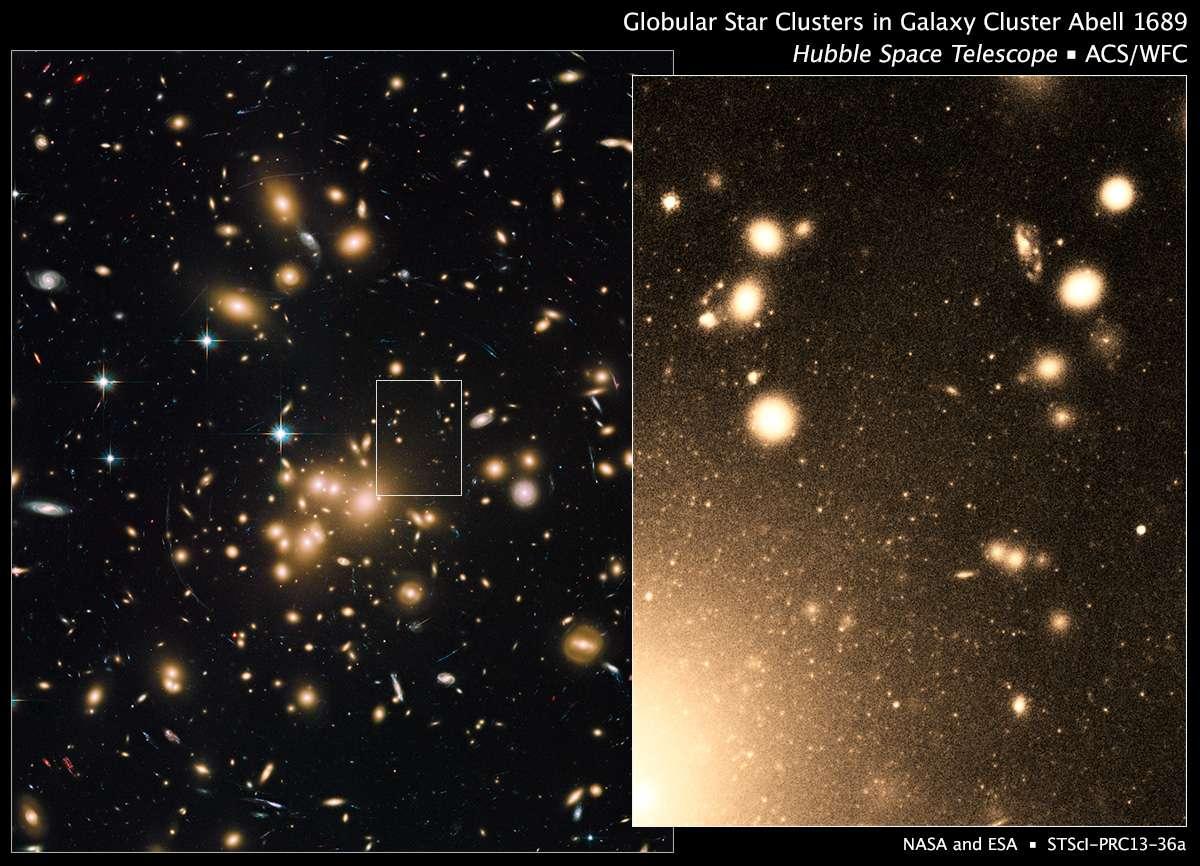 Hubble a été utilisé pour obtenir dans le visible des images de l'amas de galaxies Abell 1689, que l'on voit à gauche. En zoomant (image de droite), on observe des galaxies entourées de sortes de flocons de neige : il s'agit en fait d'amas globulaires. C'est le plus grand groupement d'amas de ce genre connu. Les mesures indiquent que cette densité élevée est en relation avec celle de la matière noire, qui serait elle aussi importante au cœur de cet amas. © Nasa, Esa
