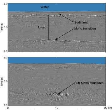 Les sédiments océaniques, la croûte et la zone transition Moho sont bien visibles sur ces images des réflexions sismiques.