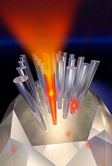 Une représentation d'artiste des nanofilaments de diamant contenant des centres colorés et émettant des photons. Crédit : Jay Penni