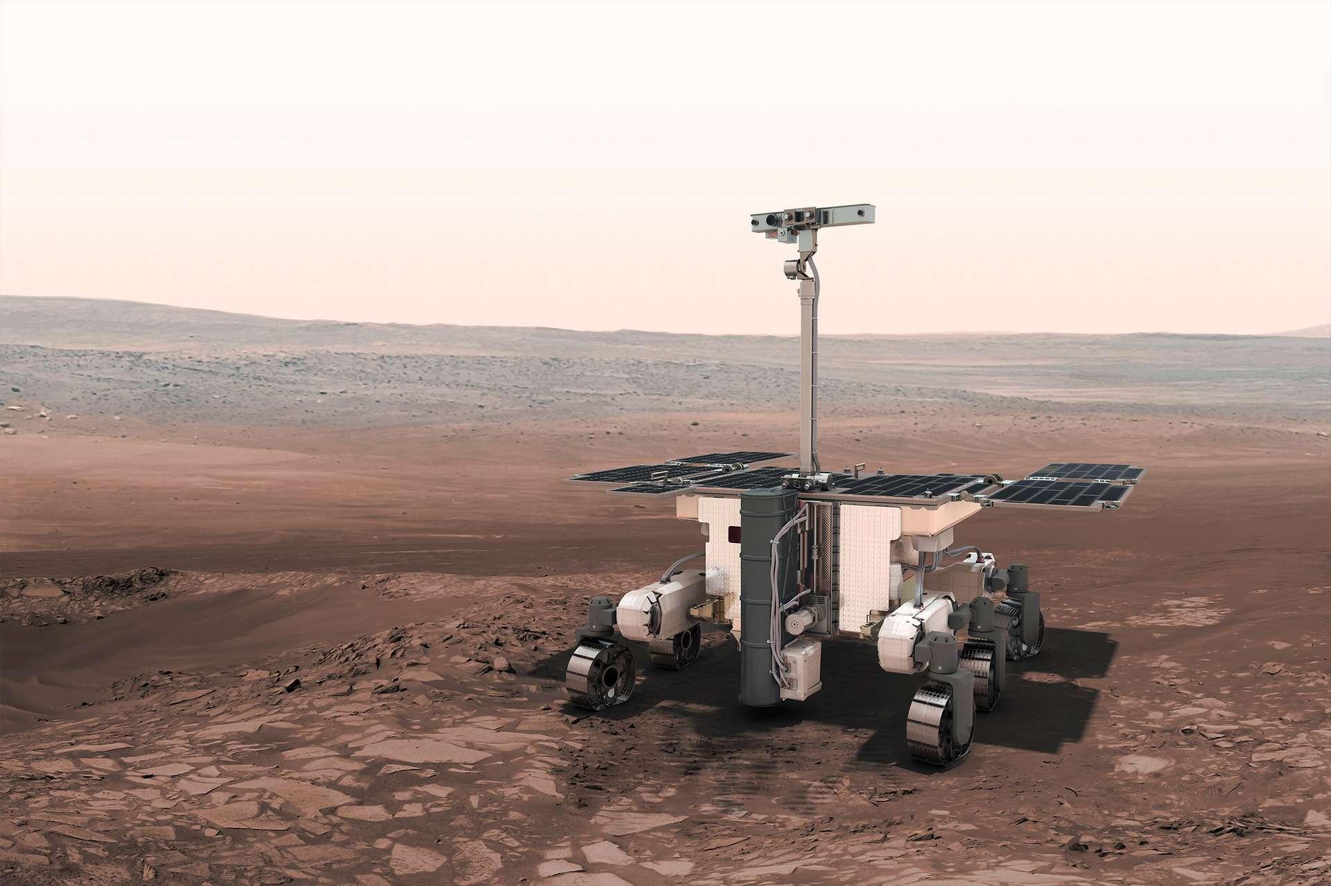 Vue d'artiste du rover Rosalind Franklin (ExoMars 2020) de l'Agence spatiale européenne. Le lancement de ce rover martien, à bord d'un lanceur russe Proton, est prévu en juillet 2020. © ESA
