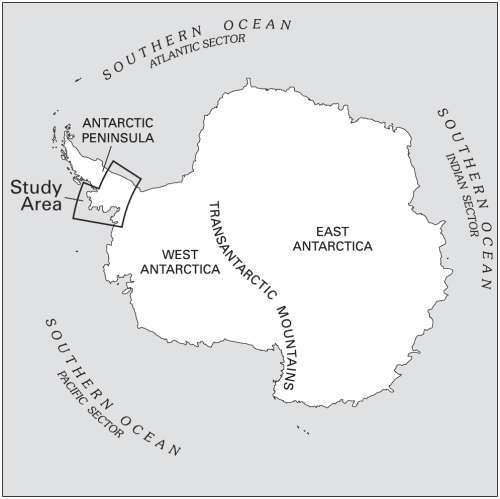 La péninsule antarctique est la partie du continent la plus éloignée du Pôle sud. Les températures de la partie sud, étudiée ici, sont les plus basses de la péninsule. Tout changement observé en ce lieu est donc annonciateur des changements à venir pour la péninsule et le continent antarctique tout entier. © U.S. Geological Survey