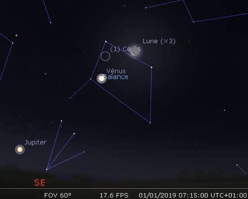 La Lune en rapprochement avec Vénus et Cérès