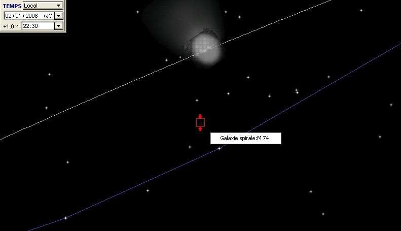 La comète 8P Tuttle est proche de la galaxie M74
