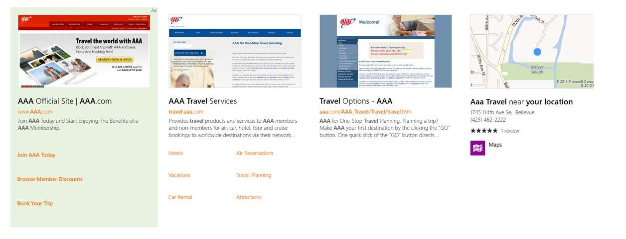 Un exemple qui illustre l'affichage des publicités dans les résultats du moteur de recherche unifié de Windows 8.1. Microsoft ouvre une nouvelle fenêtre aux annonceurs en leur permettant de toucher le consommateur même s'il n'ouvre pas son navigateur Internet. © Microsoft